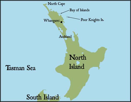 Map of North Island, New Zealand
